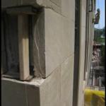 Damaged limestone piece